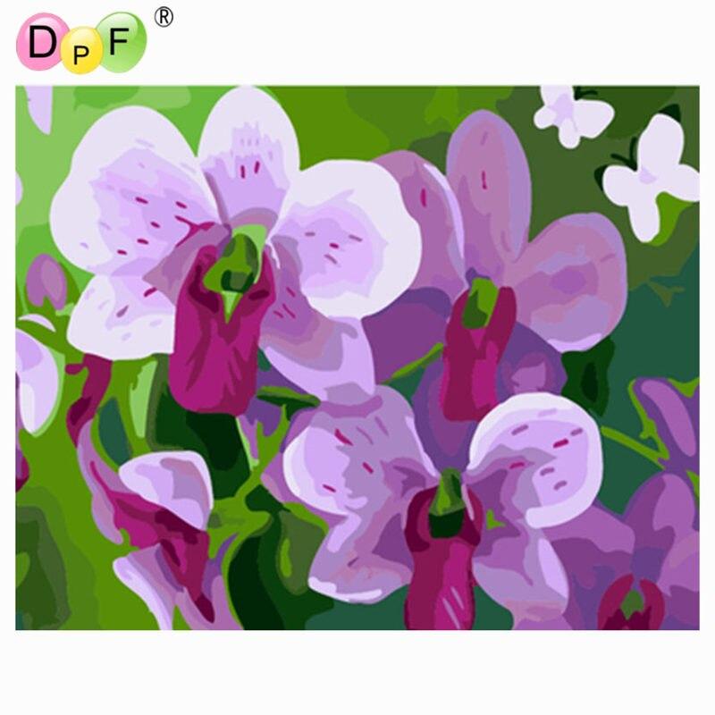 DPF DIY Lgemlde Orchidee Farbe Auf Leinwand Acryl Frbung Durch Zahlen Malerei Blume Handgemachte Fr Wohnzimmer