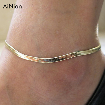 AiNian Foreign Woman Sexy Thin Metal Chain Anklets Scale Upscale Beach Sandals Snake Bone Chain Bracelet Foot Jewelry  Tobillera