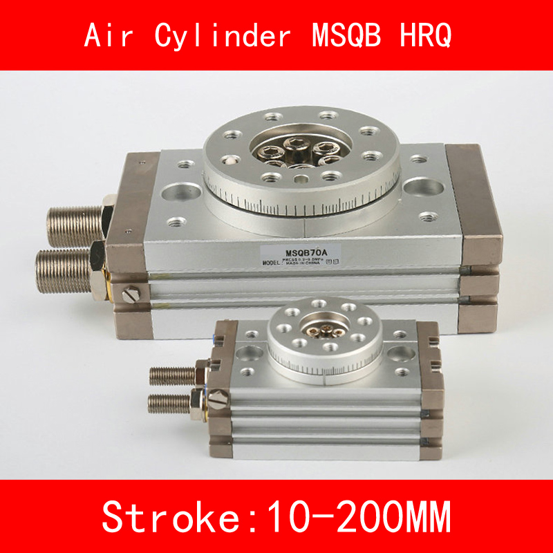 MSQB HRQ SMC Cylinder Rotary Stroke 10-200mm Table Oscillating Cylinders 180 Degree Turn R with A without Hydraulic Buffer type msqb10a smc 20a 30a rotary table msqb50r 90 degree 180 degree hrq20 rotary cylinder