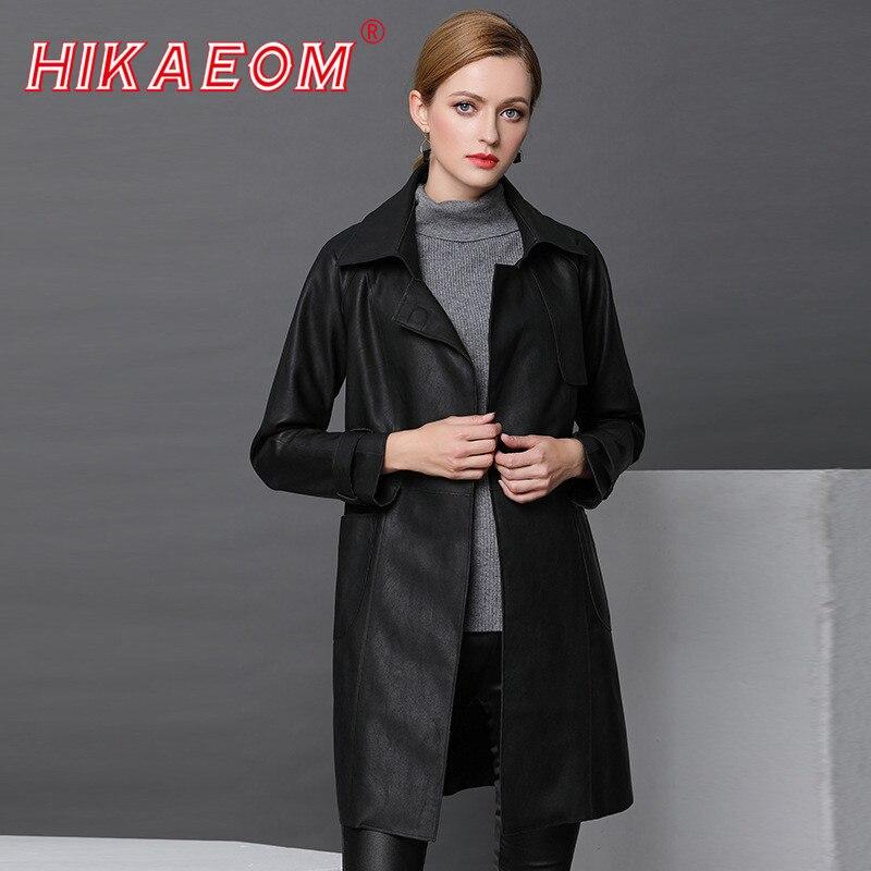 Women Real   Leather   Sheepskin Coat 2018 Autumn Winter New Long Sheepskin   Leather   Jackets Large Size Women Windbreaker Coat Female