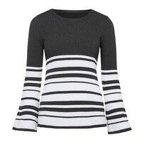 Women Casual Knitwear Autumn Winter White Long Sleeve O Neck Wool Blends Slim Army Green Stripes