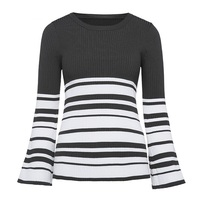 Women Casual Knitwear Autumn Winter White Long Sleeve O Neck Wool Blends Slim Army Green Stripes