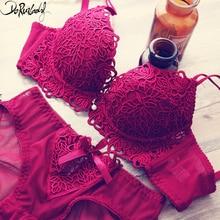 DeRuiLaDy Fashion Flower Embroidery Women Bra Set Adjusted Super Push Up Thick Underwear Women Padded Bralette Bra Panty Set
