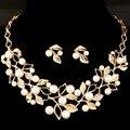 Las mujeres de plata chapado en Oro juegos de joyería 2 colores boho collar de flores declaración collar de la manera con los pendientes para la boda del partido