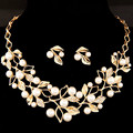 Women Gold silver plated jewelry sets 2 colors flowers statement necklace boho fashion necklace with earrings for party wedding