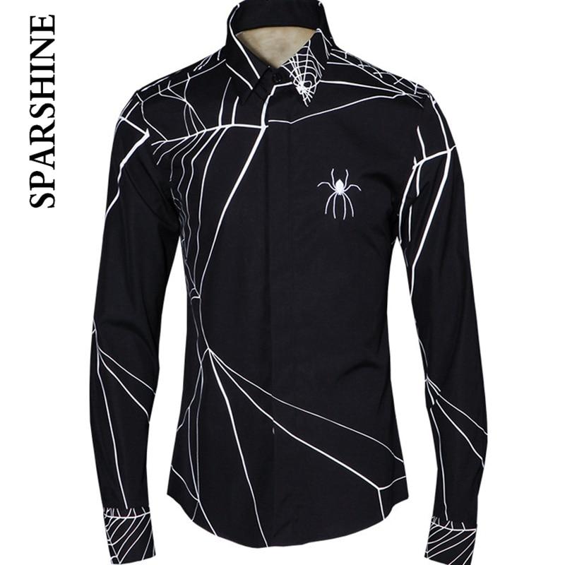 PUNK Spider web Printed Mens Dress Shirts 2016 Brand Designer Casual Long Sleeve Cotton Slim Fit Men Shirt Black White