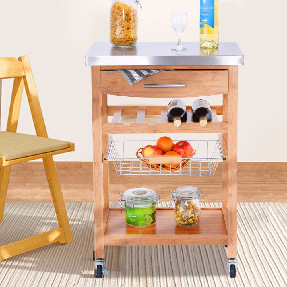 Giantex Bamboo Rolling Kitchen Trolley Storage Island Serving Cart Stainless Steel Top H ...