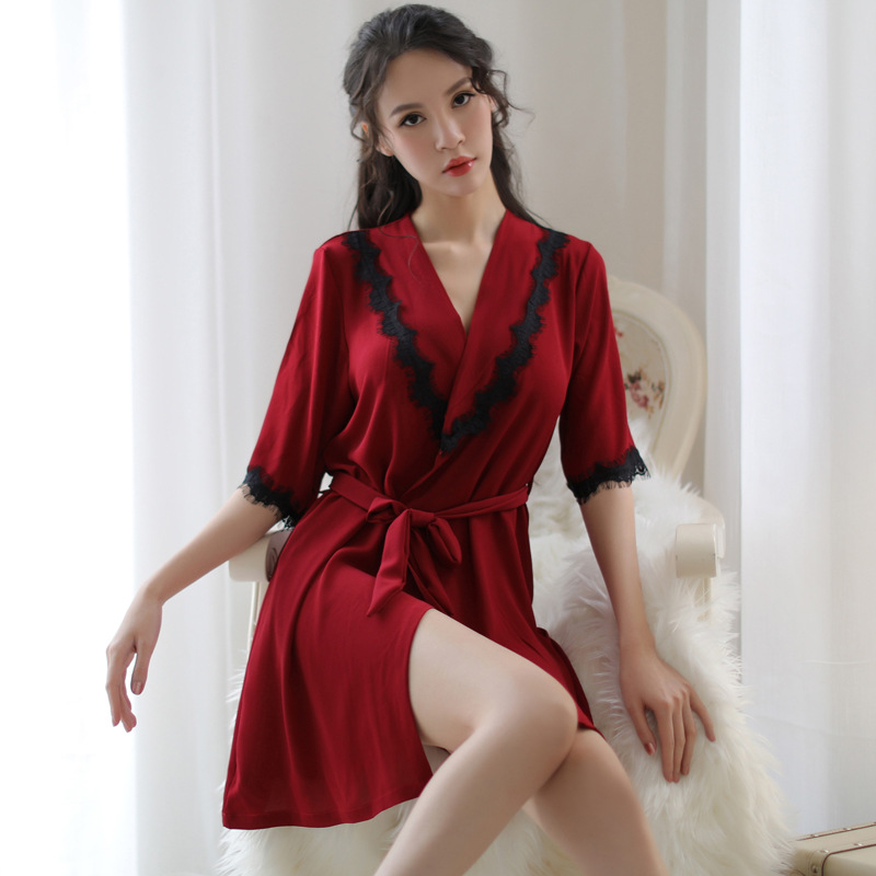Black Red Silk Robes For Women Sexy Lingerie Robe Lace Bathrobe Kimono Womens Robes Sleepwear Home Night Dressing Gown