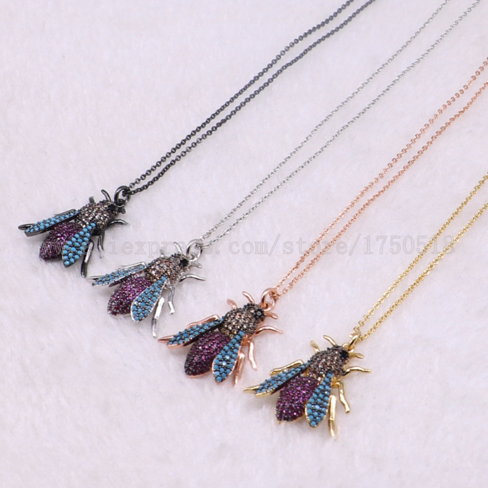 5 strands bugs necklace Insects bee pest pendants necklace small size jewelry 18 mix color necklace pets beads 3073