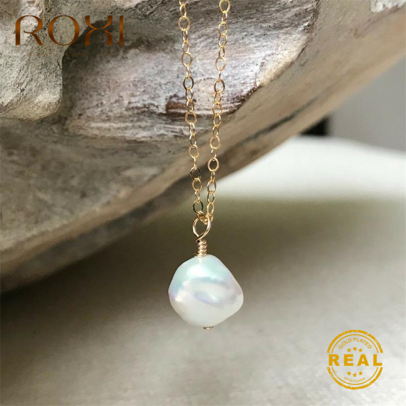 ROXI Real Natural Freshwater Pearl Necklace Irregular Baroque Pendant Women Jewelry Gift Long Statement