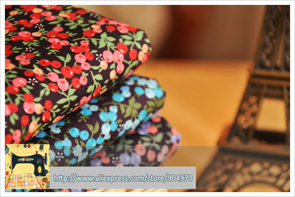 Yy DIY 3 unids colores cereza tela del remiendo del algodón Textiles para el hog