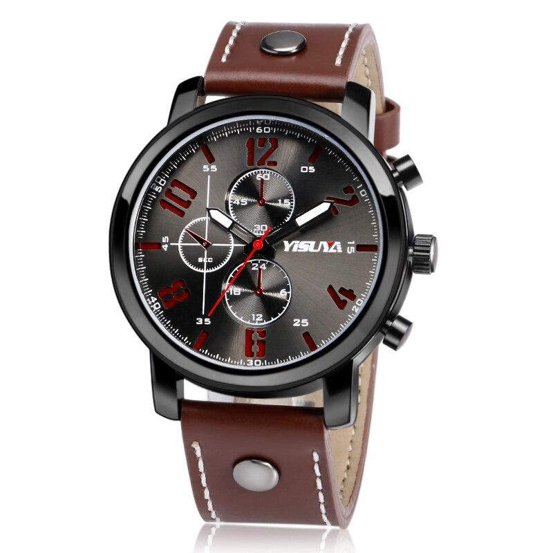 Heren Horloges Luxe Merk Lederen Mannelijke Klok YISUYA Militaire - Herenhorloges - Foto 2