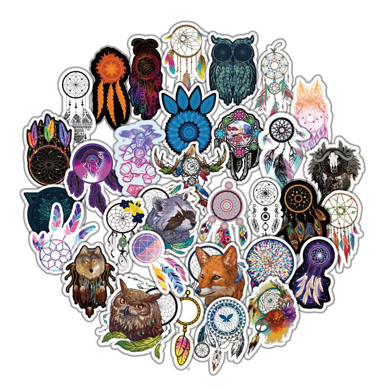 57 Pcs/pack Dreamcatcher Stickers For Skateboard Motorcycle Luggage Stickers Pvc Waterproof Catcher Network Sickers