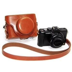 Image 4 - PU skórzane etui torba pokrywa dla Panasonic Lumix DMC LX7 LX7 LX5 LX3 ochronna dolna skrzynka pasek na ramię kamera wideo ciężka torba