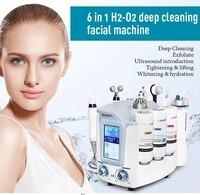 6 in 1oxygen aqua facial peel hydro dermabrasion water spray oxygen jet hydra machine/H2 O2 Facial cleaning machine