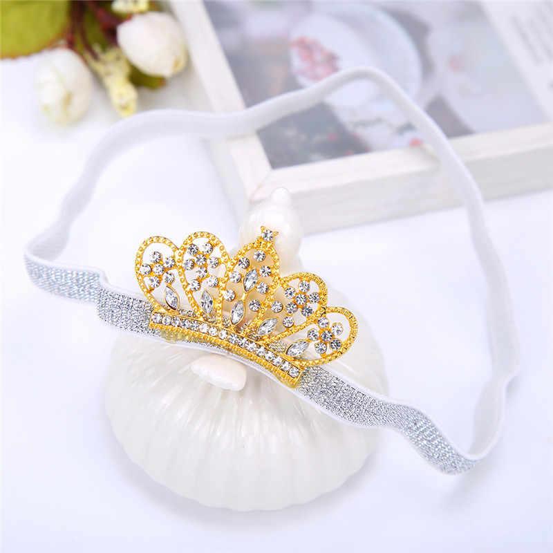 Для новорожденных повязка на голову с короной для малышей принцессы золотого цвета Корона из сплава со стразами для девочек, Милая Детская повязка для головы; Детские аксессуары для волос