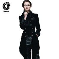 Мода готический Хвост Ласточки пальто Для женщин Винтаж дворец длинные зимние куртки развивать Черный/Красный стимпанк долго пыли верхняя