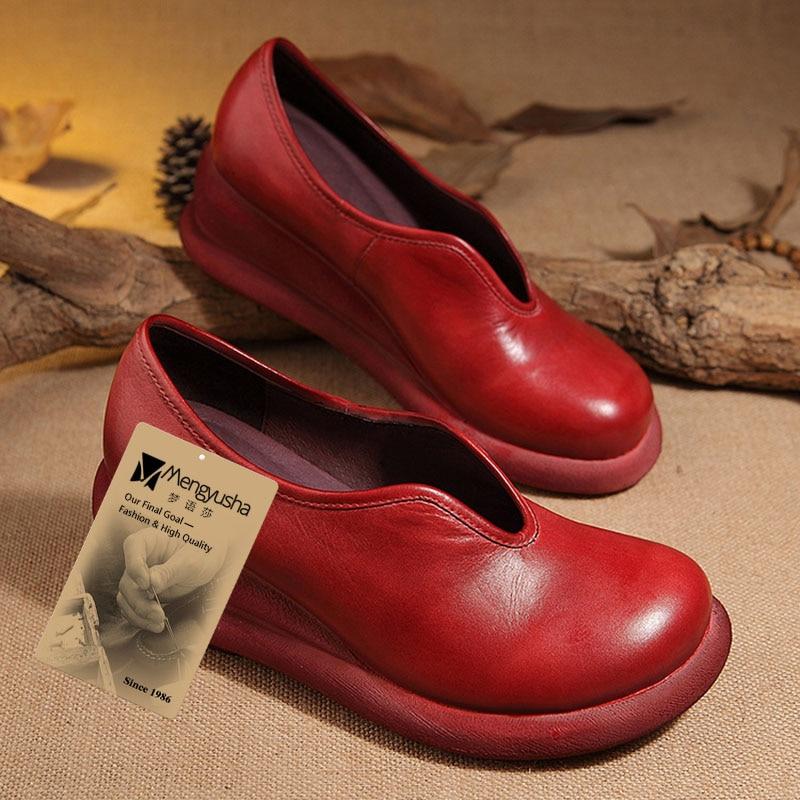 Loafer Schuh Frau Mode Wedage Weibliche Leder Schuhe Slip Beiläufige Red Frauen Handgefertigte 2017 beige Echtem Flache Auf wI4xA0z6