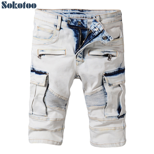 Sokotoo Men's summer pale blue pockets cargo biker shorts for moto Plus size knee length stretch denim slim jeans
