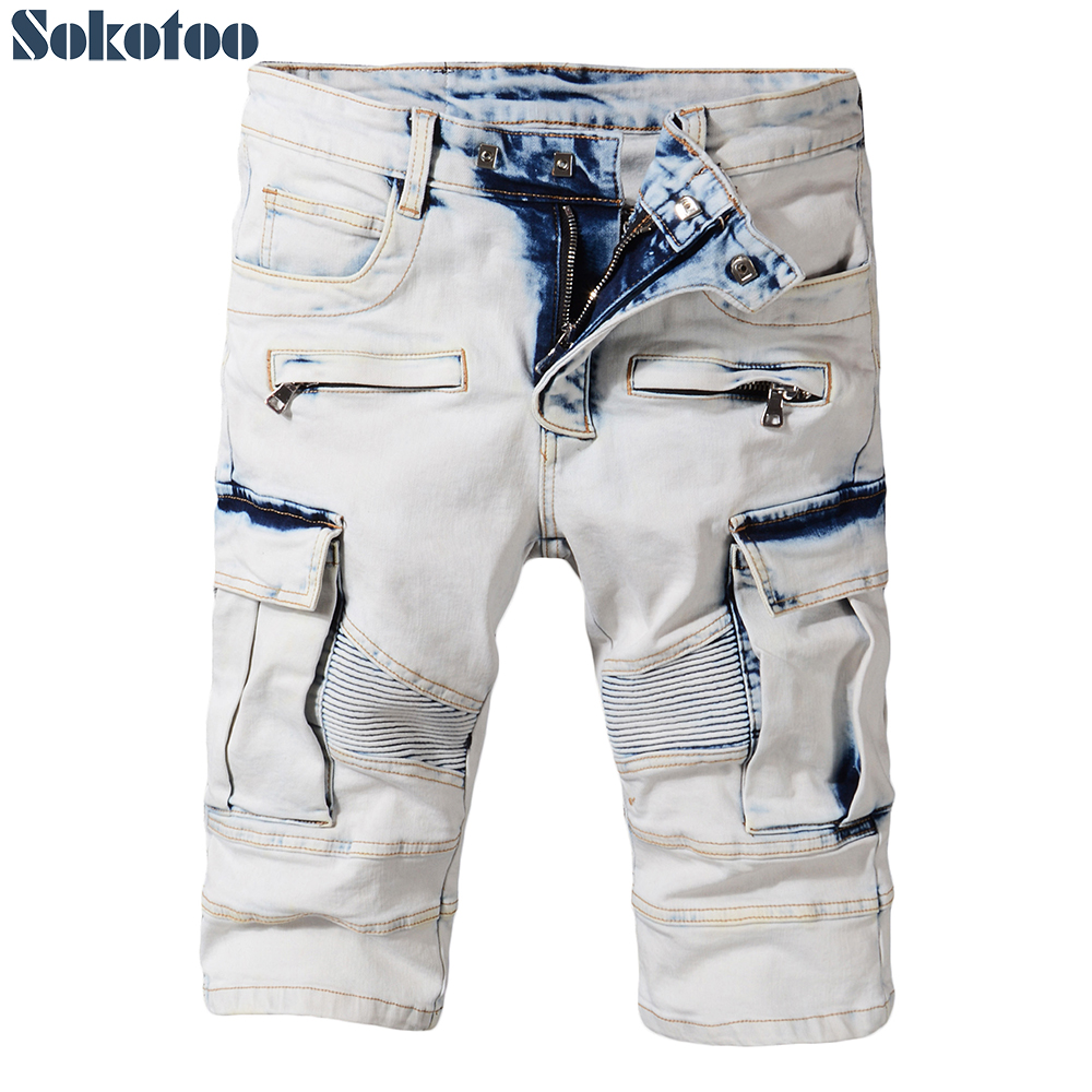 Sokotoo Mens summer pale blue pockets cargo biker shorts for moto Plus size knee length stretch denim slim jeans