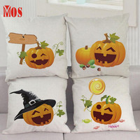 New Qualified Cushion Cover 2017 Home Decor Halloween Pumpkin Square Pillow Cover Cushion Pillowcase Zipper Closure D23Se15