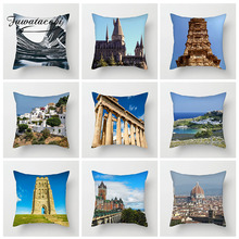 Fuwatacchi Scenic Building Cushion Cover Europe Landscape Grassland Pillows Cover Decoration For Car Home Sofa Pillowcase цены