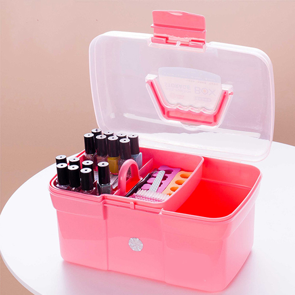 2018 New Hand-held Desktop Storage Box Plastic Scissors Makeup Organizer Jewelry Nail Polish Pen Container Manicure Tool Case