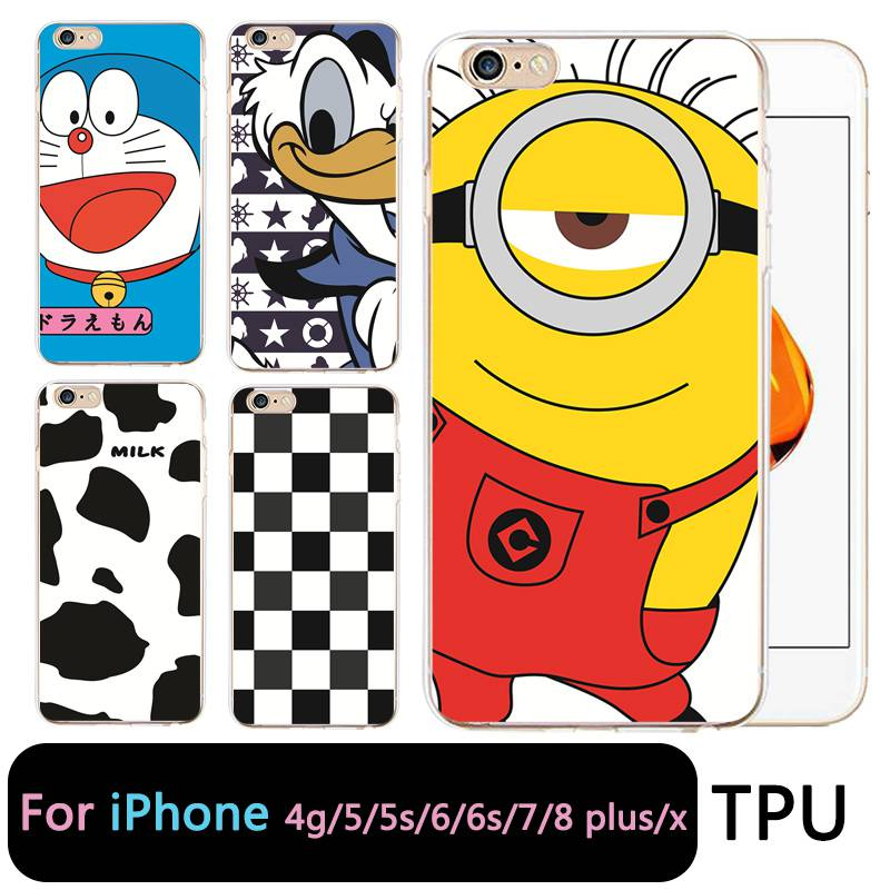 QMSWEI TPU Clear Phone Case For iPhone 6G 6s 7 8plus x Soft Doraemon Stitch Cow Silicone Printed Cover For iPhone 4 5se 6Plus 7P