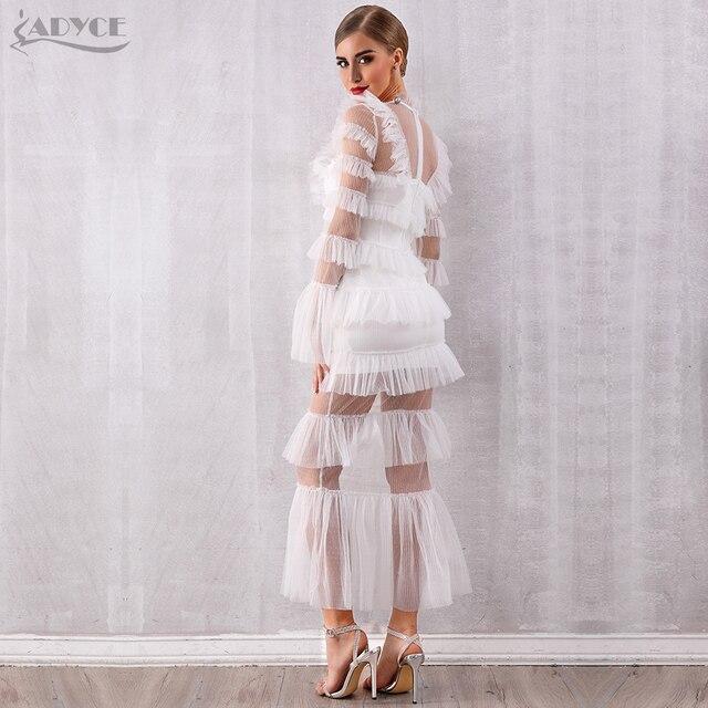 Adyce 2019 New Autumn Maxi White Fashion Women Dress Luxury Lace Ruffle Club Dress Vestidos Sexy Long Sleeve Evening Party Dress 4