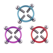 2019 New 2PCS/Lot Stainless Steel Multicolor Round Non-Piercing Nipple Ring Women Nipple body piercing jewelry Fake Piercing