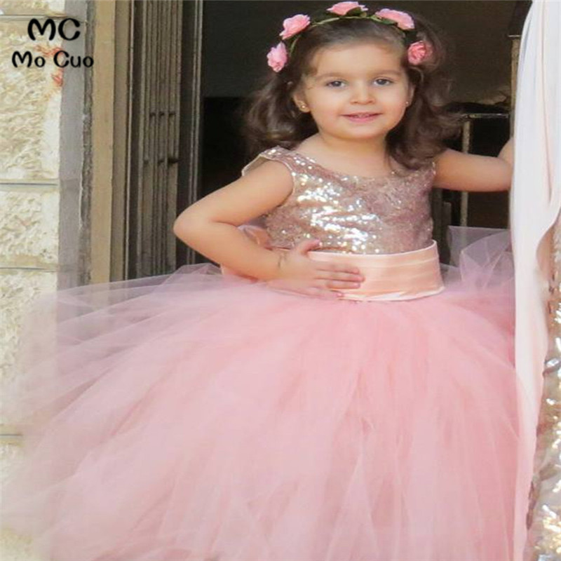 Puffy 2019 Lovely Ball Gown first communion   dresses   for   girls   kids evening gowns Pink Sequins   flower     girl     dresses   for weddings