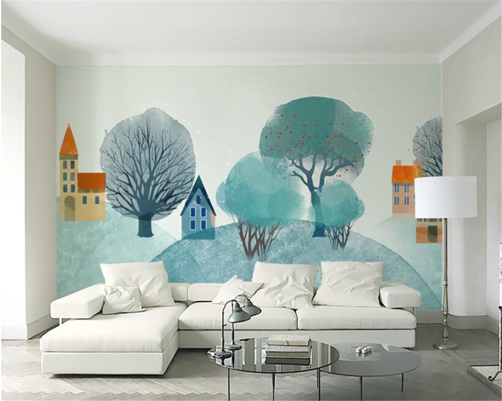 beibehang Modern Living Room Bedroom Background Wall 3d Wallpaper Nordic Style forest Hill Interior Design 3d Wallpaper Mural in Wallpapers from Home Improvement