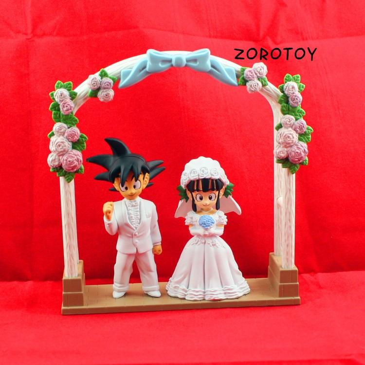 <font><b>2013</b></font> <font><b>New</b></font>! <font><b>Anime</b></font> <font><b>DRAGON</b></font> <font><b>BALL</b></font> <font><b>Movie</b></font> <font><b>WCF</b></font> DWC7 Son Goku ChiChi Wedding scene PVC Action Figure Free shipping