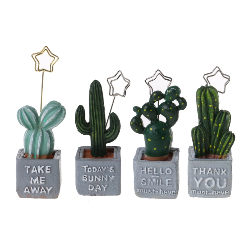 1Pcs Cute Cactus Card Holder Memo Note Clip Resin Plant Decoration Stationery Office School Supplies