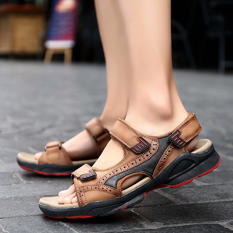 f4a4d33185b6 DJSUNNYMIX 2018 Summer Mens Sandals Slippers Genuine Leather Sandals ...