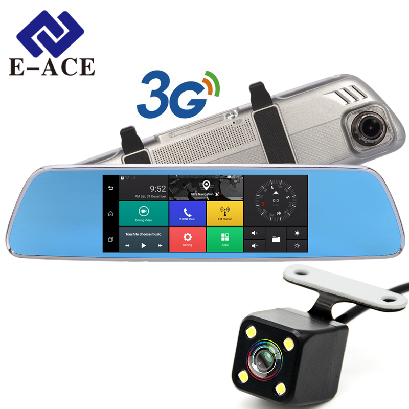 E-ACE 3G Car Dvrs 7 Inch Touch Rearview Mirror Cameras Android 5.0 GPS Bluetooth Handfree WIFI FHD 1080P 16G Video Recorder fashion 7 inch fhd 1080p android 5 0 3g