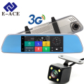 E-ACE 3G Car Dvrs 7 Inch Touch Rearview Mirror Cameras Android 5.0 GPS Bluetooth Handfree WIFI FHD 1080P 16G Video Recorder