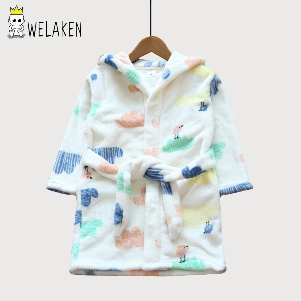 Welaken niños bebés niñas albornoces lindo patrón de dibujos animados con capucha de franela noche-traje 2018 nuevo Otoño Invierno Kids trajes