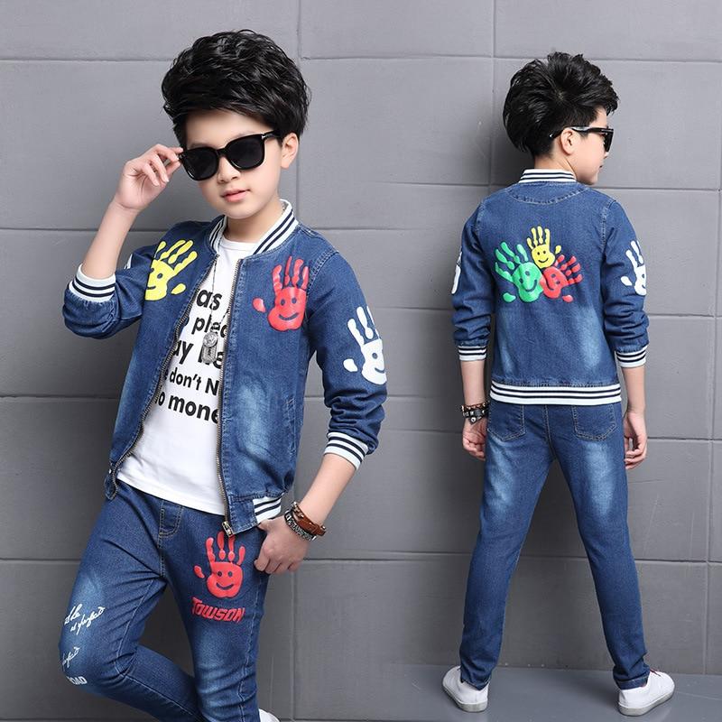 2018 New Cartoon Boys Clothing sets 2pcs Denim Jacket & Jeans Clothing Set Boy Outerwear Denim Pant Boys Clothes men s cowboy jeans fashion blue jeans pant men plus sizes regular slim fit denim jean pants male high quality brand jeans