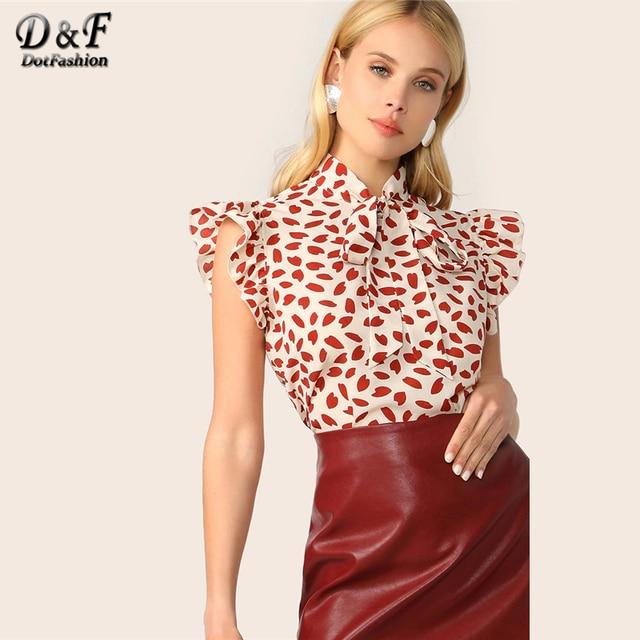 Dotfashion Rote Krawatte Neck Rüschen Trim Blütenblatt Drucken Bluse Frauen 2019 Boho Sommer Ärmellose Tops Koreanische Elegante Stehkragen Bluse