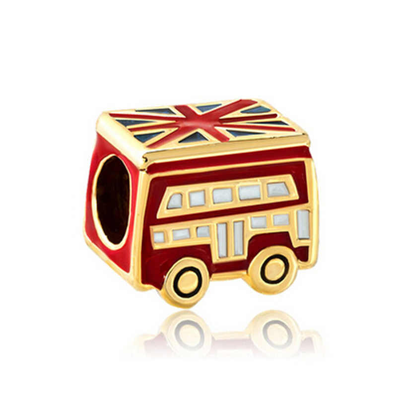 Pop Charm Golden London Bus Flag Lucky Charm Beads Fit Pandora Bracelet