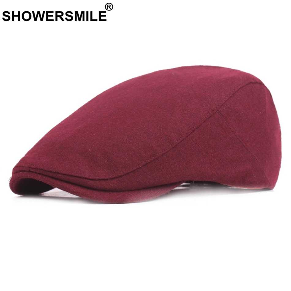 SHOWERSMILE Brand Burgundy Wool Tweed Caps For Women Men Vintage Warm Winter Beret Flat Cap Casual Gifts British Caps And Hats