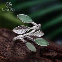 Lotus Fun réel 925 en argent Sterling anneau ouvert pierre naturelle à la main conception Fine bijoux printemps dans l'air feuilles anneaux pour les femmes