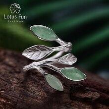Lotus fun real 925 sterling silver anel aberto pedra natural design feito à mão jóias finas primavera no ar folhas anéis para mulher