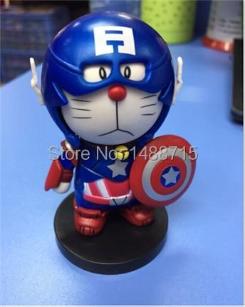 Hot Classic Comic Anime Robot Cat Doraemon Captain America Cosplay Cute 7CM Figure Toys New Box