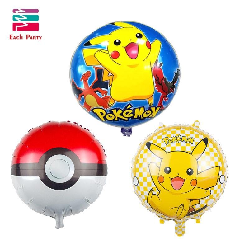 3pcs/lot Pikachu Pokemon Foil Balloons round Helium Ballons Inflatable kids clas