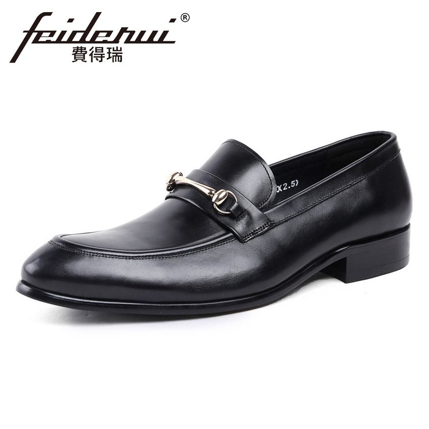 Vintage Genuine Leather Handmade Men's Loafers Round Toe Slip on Height Increasing Man Comfortable Office Casual Shoes YMX230 pl us size 38 47 handmade genuine leather mens shoes casual men loafers fashion breathable driving shoes slip on moccasins
