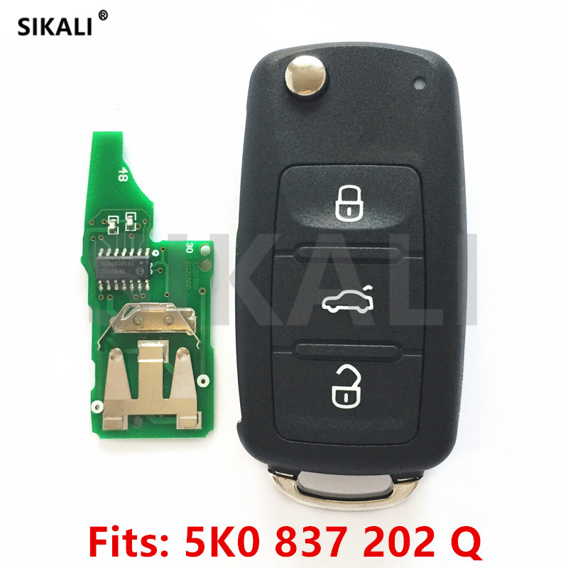 купить SIKALI Car Remote Key for 5K0837202Q for VW/VolksWagen Beetle/Caddy/Eos/Golf/Jetta/Polo/Scirocco/Tiguan/Touran/UP 2009-2014 по цене 938.37 рублей