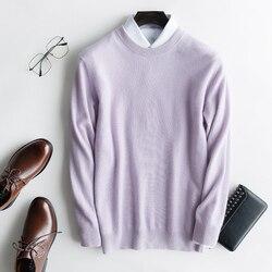 100% Pullover de punto de Cachemira puro suéter de manga larga de cuello redondo para hombre ropa masculina 12 colores de alta calidad jerseys para hombre