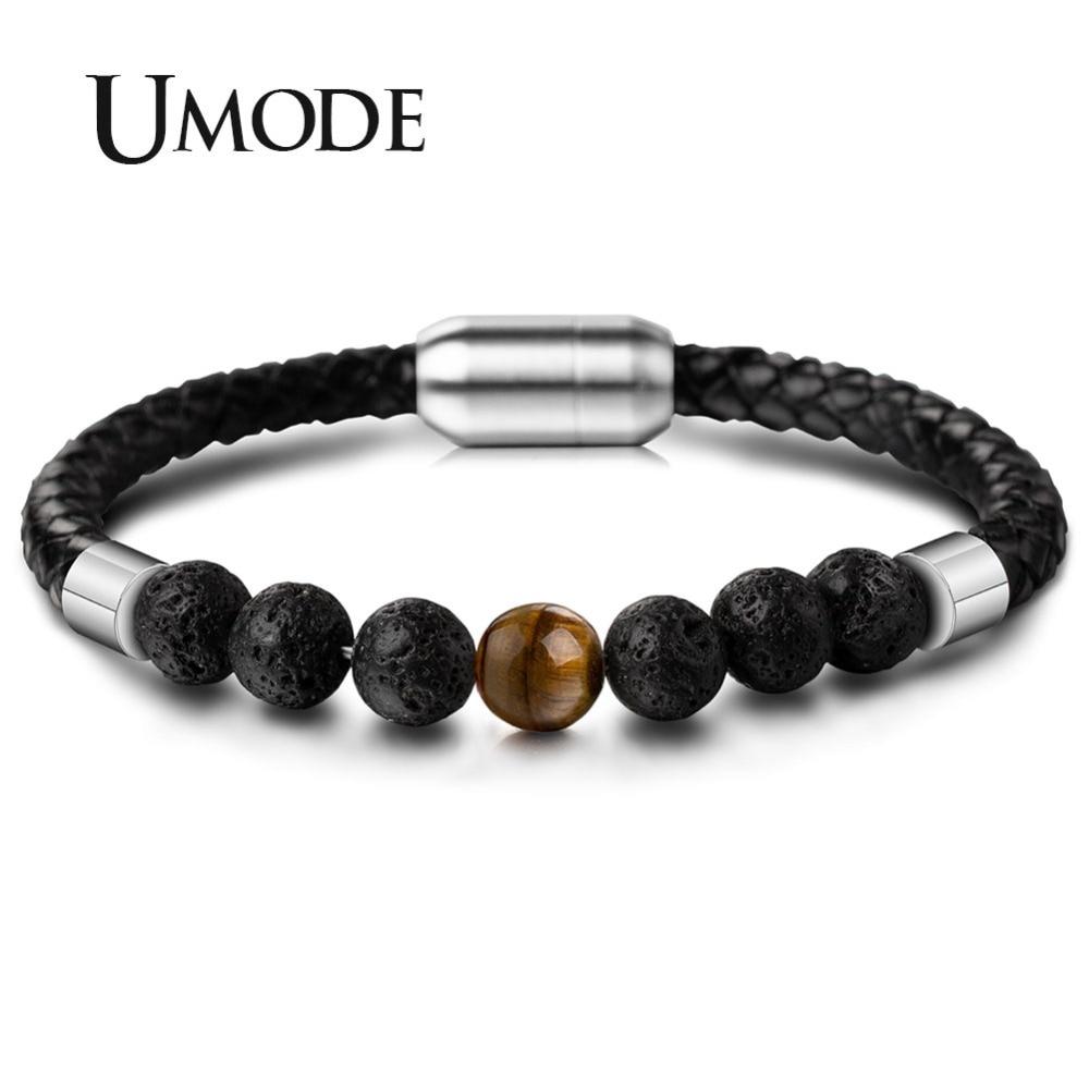 UMODE Tiger Eye Stone Chakra Beaded Bracelet Mens